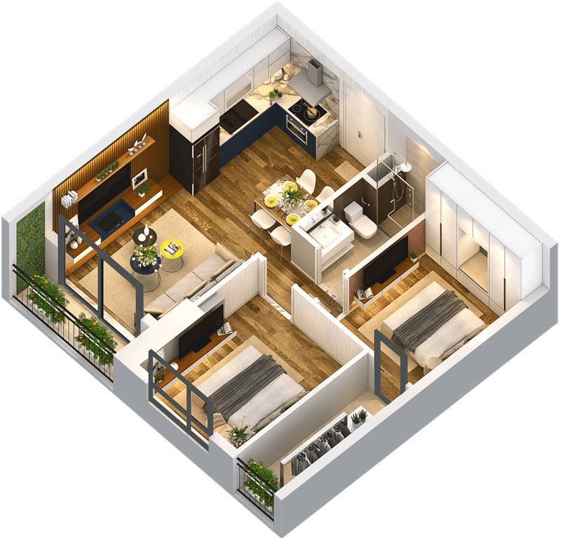 Mặt bằng điển hình CH 3A - Diện tích: 53,38 m2 - 2 Phòng ngủ - 1 WC