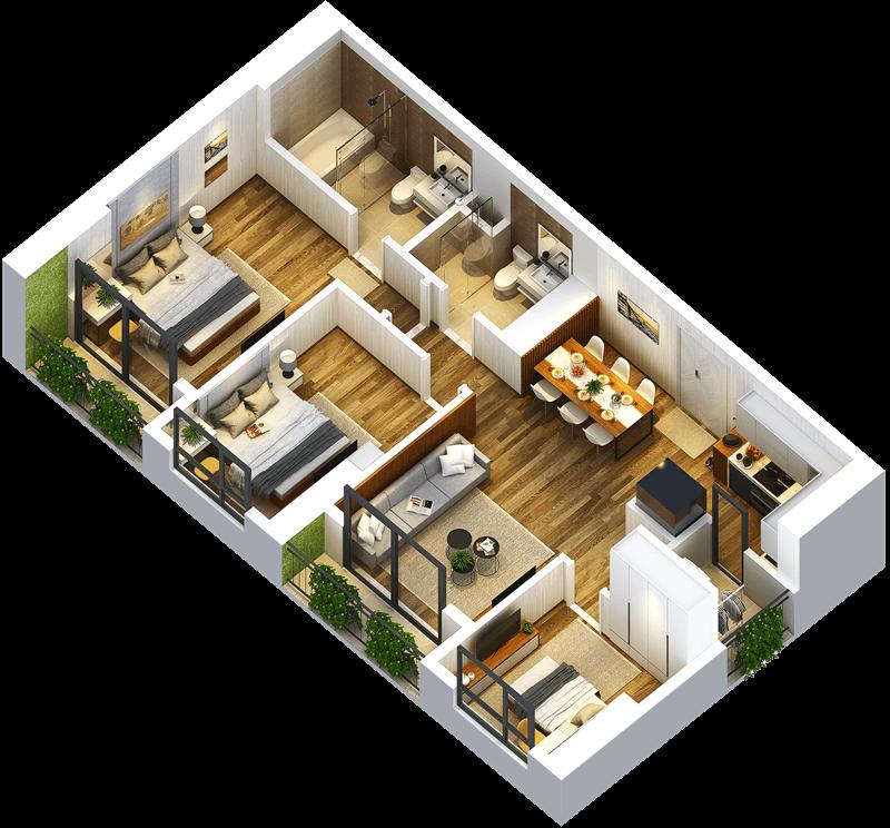 Mặt bằng điển hình CH 10B - Diện tích: 90,17 m2 - 3 Phòng ngủ - 2 WC