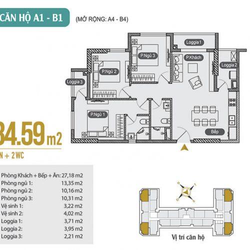Mặt bằng căn hộ A1 – B1 – A4 – B4 chung cư Anland Premium