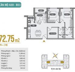 Mặt bằng căn hộ A10 – B11 chung cư Anland Premium