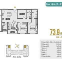 Mặt bằng căn hộ A12 – B13 chung cư Anland Premium