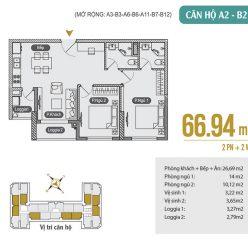 Mặt bằng căn hộ A2 – B2 – A3 – B3 – A6 – B6 – A11 – B7 – B12 chung cư Anland Premium