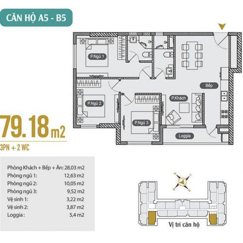 Mặt bằng căn hộ A5 – B5 chung cư Anland Premium