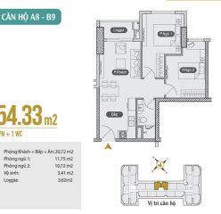 Mặt bằng căn hộ A8 – B9 chung cư Anland Premium