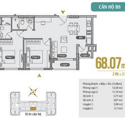 Mặt bằng căn hộ B8 chung cư Anland Premium