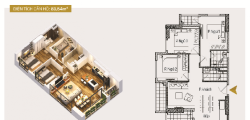 Căn hộ A01 và B01: 3 phòng ngủ diện tích 83,54m2 (căn tương tự: A4 và B4)
