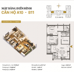 Căn hộ A10 và B11: 2 phòng ngủ diện tích 71,98m2