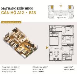 Căn hộ A12 và B12: 2 phòng ngủ diện tích 72,98m2