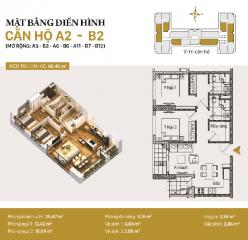 Căn hộ A02 và B02: 2 phòng ngủ diện tích 75,06m2 (thiết kế tương tự: A3-B3-A6-B6-A11-B7-B12)