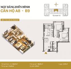 Căn hộ A08 và B09: 2 phòng ngủ diện tích 55,36m2
