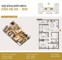 Căn hộ A09 và B10: 2 phòng ngủ diện tích 75,06m2