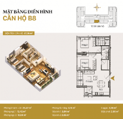 Căn hộ B8: 2 phòng ngủ diện tích 67,38m2