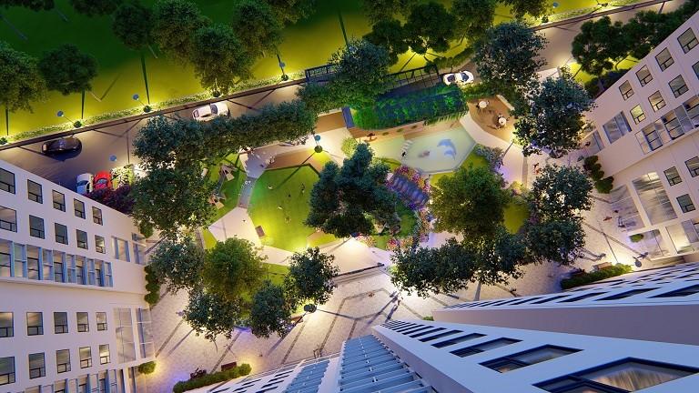 Khuôn viên tòa nhà là sân chơi cho trẻ được thiết kế theo chủ đề khám phá