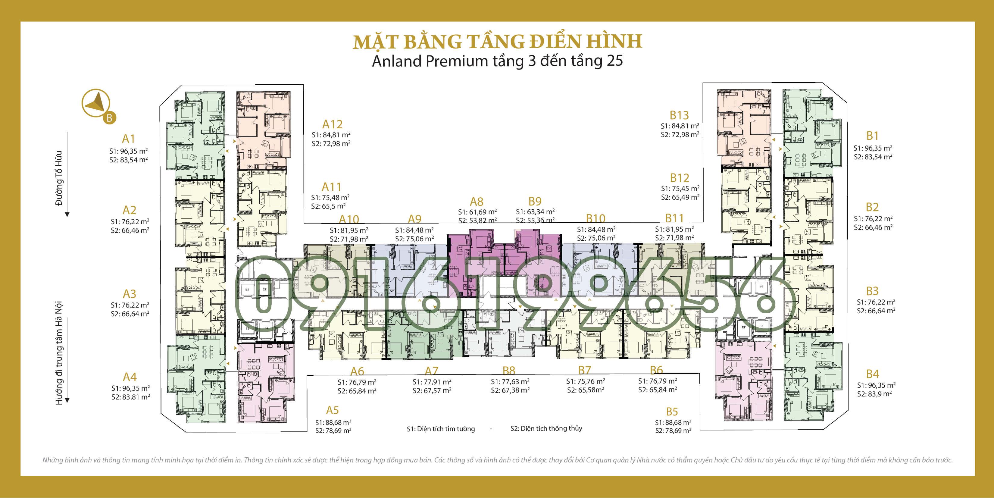 Mặt bằng điển hình chung cư Anland Premium Dương Nội (chung cư Anland 2)