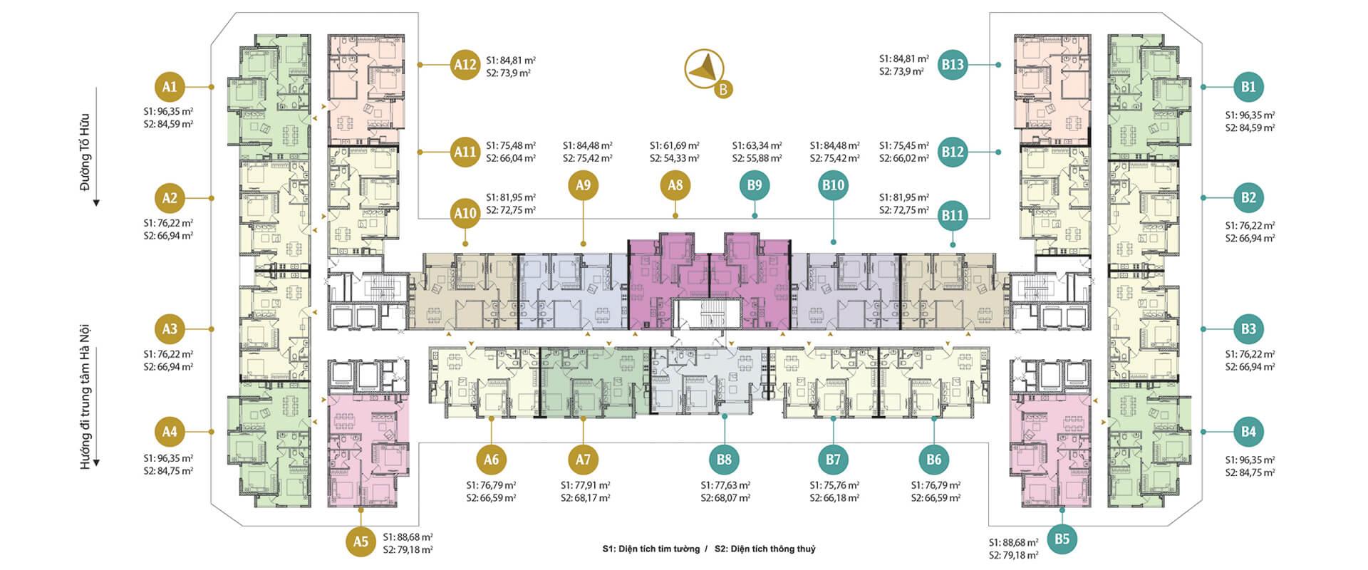 Mặt bằng điển hình chung cư Anland Premium